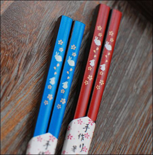 Japanese Rabbit Mahogany Chopsticks Couple Hashi Set