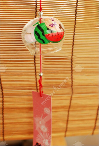 Japanese Glass Wind Chime Watermelon and Fan