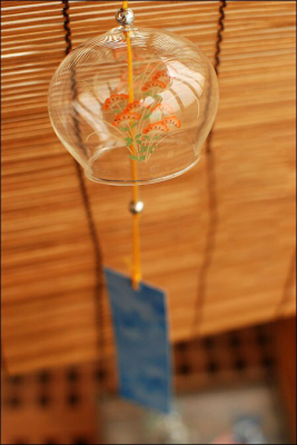 Japanese Orange Flower Glass Wind Chime