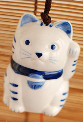 Japanese Fortune Cat Ceramic Wind Chime