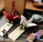 Paper Crane Ceramic Wind Chime with Omamori