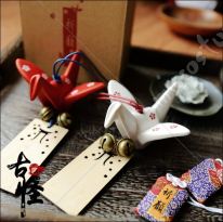 Paper Crane Ceramic Wind Chime with Omamori