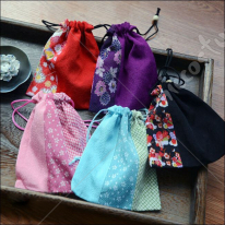 Japanese Style Flowers Drawstring Bag