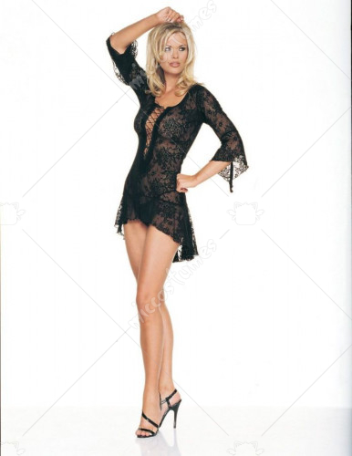 Lace Flair Sleeves Dress with G-String