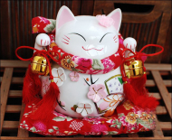 Large Size Flower Japanese Fortune Cat Ceramic Penny Bank