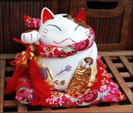 Large Size Japanese Fortune Cat Penny Bank Ceramic