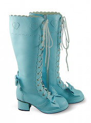 Light Blue Lace Up Thick Heel Platform Leather Knee Boots