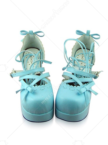 Light Blue Oblate Toe Crossed Strap Platform Leather Pump
