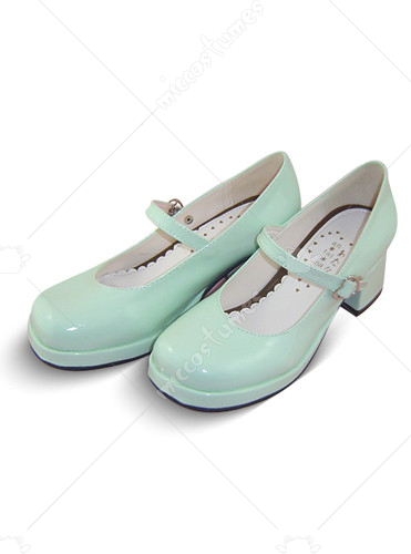 Light Green Round Toe Platform Leather Pump