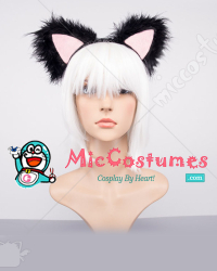 Long Hair Cat Ears Black Hair Band