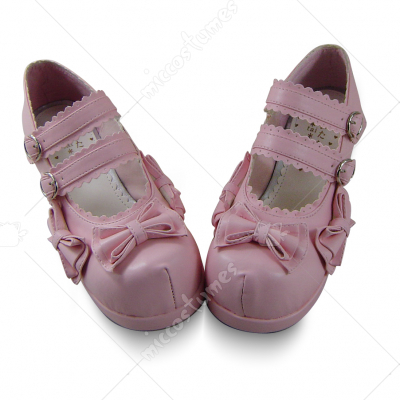 Lovely Pink Metal Buckle Bowknot Lolita Shoes