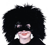 Mask Feather Blk w Sequins