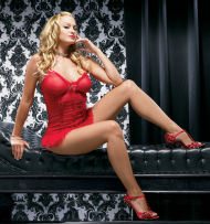 Mesh Ruffle Mini Dress with Heart Charm and G-String