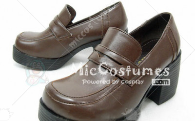 Middle Stacked Heels Platform Sole PU Japanese School Shoes