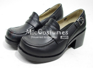 Middle Stacked Heels Square Toe Buckled Strap Leather Japanese S