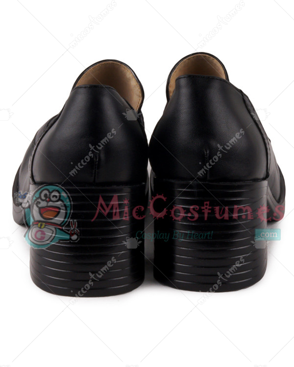 Middle Stacked Heels Square Toe Leather Japanese School