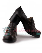 Middle Stacked Heels Square Toe Leather Japanese School Shoes