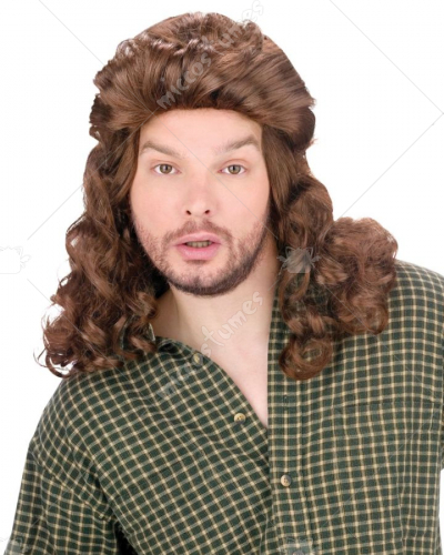 Mullet Perm Wig Brown
