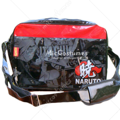 Naruto Akatsuki Print Burnished Leather Shoulder Bag