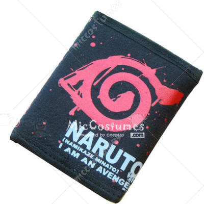 Naruto Red Konoha Bifold Canvas Wallet