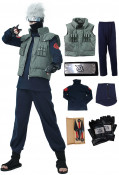 Full Set Naruto Kakashi Hatake Cosplay Costume with Headband, Mask and Accessories