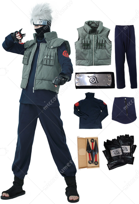Full Set Naruto Kakashi Hatake Cosplay Costume with Headband, Face Covering and Accessories
