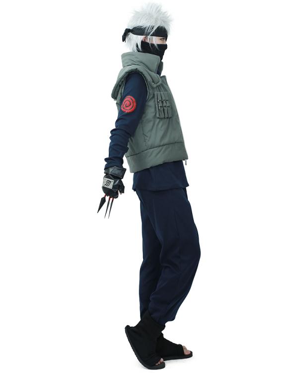 Komplett Set Naruto Kakashi Hatake Cosplay Kostüm mit Stirnband und Zubehör
