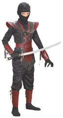 Ninja Fighter Leather Child Red Costume