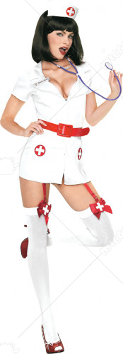 Nurse Naughty Red With Hat Adult Costume