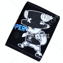 One Piece Chopper Bifold Canvas Wallet Black