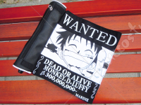 One Piece Luffy Wanted Scroll Pencil Bag Black