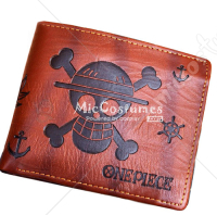 One Piece Skeleton Mark Leather Bifold Wallet Brown