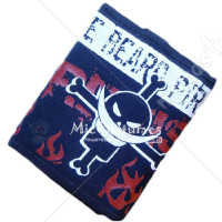 One Piece White Beard Bifold Canvas Wallet Black