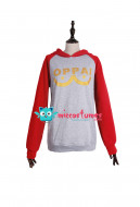 One Punch Man Saitama Oppai Hooded Sweatshirt  Cosplay Costume