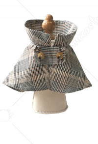 Pets Photo Prop Sherlock Holmes Conan Plaid Deerstalker Hat Cloak Set for Cats Small Dogs