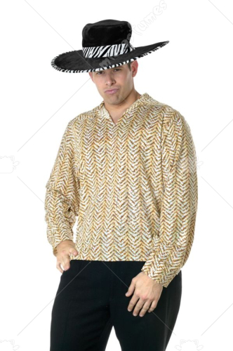 Pimp Shirt Gold Adult Costume