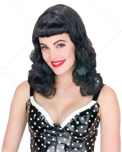 Pin Up Page Black Wig