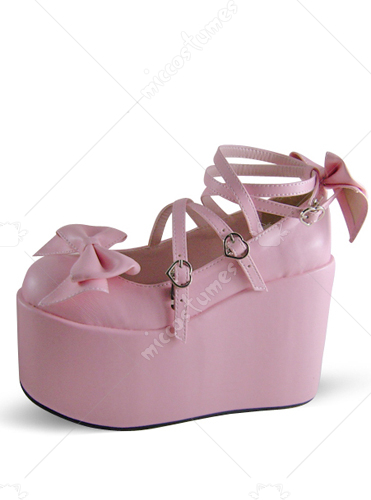 Pink Crossed Strap Platform Leather Pump