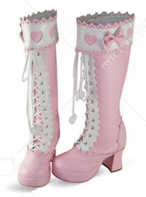 Pink Lace Up Thick Heel Platform Leather Knee Boots
