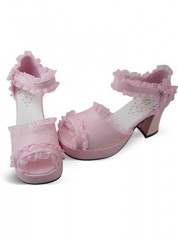 Pink Lacework Ankle Wrap Platform Cotton Sandals