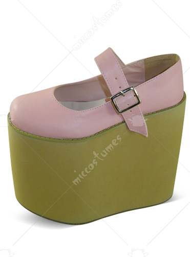 Pink Oblate Toe Strap Platform Leather Pump