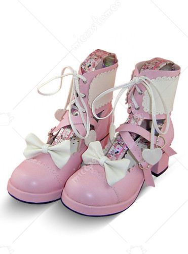 Pink and White Crossed Strap Thick Heel Leather Boots