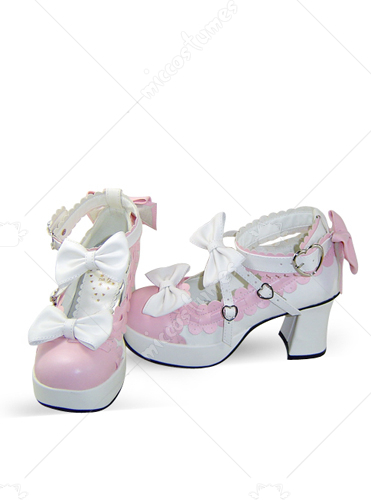 Pink and White Thick Heel Bowknot Platform Buckled Leather Pump