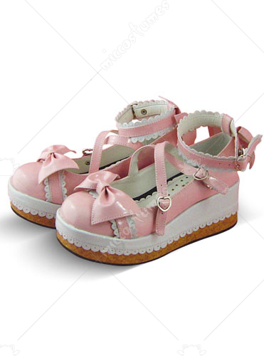 Pink and white buckle bows patent leather platform