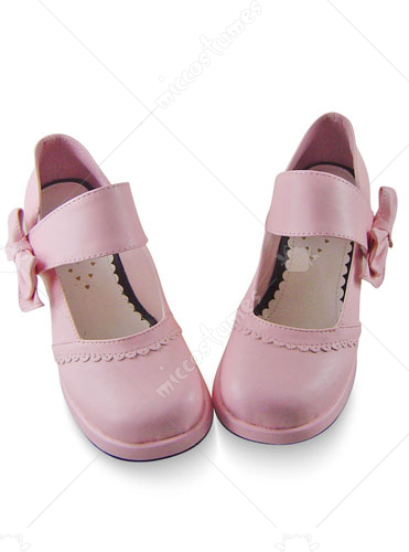 Pink thick heel buckle bow leather pump