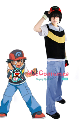 Pokemon Ash Ketchum Royal Blue And Yellow Cosplay Costume