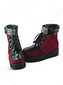 Red Leopard Lace Up Platform Leather Cotton Ankle Boots