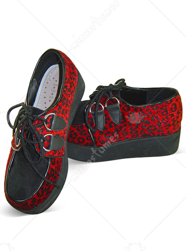 Red Leopard Lace Up Platform Leather Cotton Sneakers