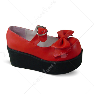 Red Metal Buckle Bowknot Lolita Shoes