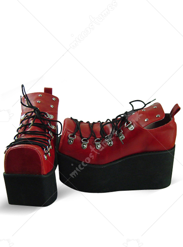 Red Oblate Toe Lace Up Platform Leather Pump